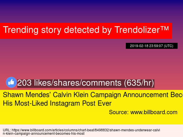 Shawn Mendes  039  Calvin Klein Campaign Announcement Becomes His Most-Liked  Instagram Post Ever 50122412e6